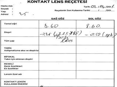 Gözlük reçetesiyle kontakt lens almak!