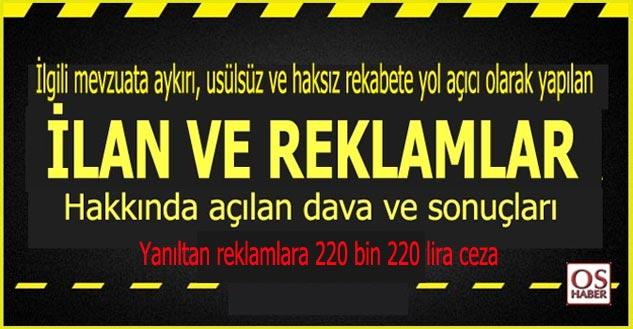 Sağlıkta yanıltan reklamlara 220 bin 220 lira ceza