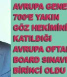 Türk Göz Doktoru Avrupa Board Sınavından birincilikle döndü
