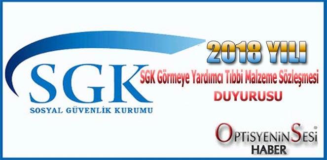 2018 Yılı SGK Optik Sözleşmesi